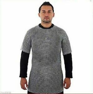 Chain Mail - Medieval Knight Aluminium Chainmail Shirt Butted Armor Haubergeon