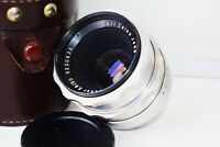 RARE Silver Carl Zeiss Jena TESSAR RED T Germany lens 50mm f/2.8 M42 mount EXC