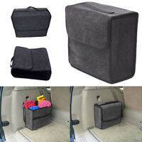 1x Car Trunk Organizer Foldable Storage Box Cargo Bag Portable Gray Woolen Felt