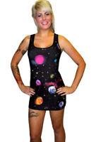 Ladies Multi Galaxy Planets Cosmic Print Long Vest Tank Top Dress Rock N Roll