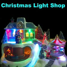 Animated LED Light Up Xmas Village Moving Carousel & Train Christmas fibre optic