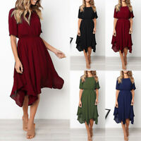 Trendy Women's Casual Short Sleeve O Neck Knee Length Dress Evening Party Dress