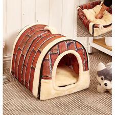Pet Cat Dog Dual Function Bed House Soft Mat Igloo Basket Bedding Kennel Warm D1