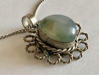 Vintage Genuine Green Gemstone Filigree Silver Tone Pendant Chain Necklace