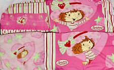 Vintage Set Strawberry Shortcake Full Bed Sheet Pink Stripes Fabric Material