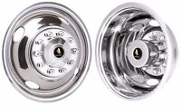 """16"""" 10 lug 4 hole  Ford f53 f450 Wheel simulators Rv tow truck bolt on stainless"""