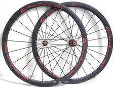 700C 38mm Tubular 3k matt Finish Red Decals Full Carbon Road Bike Wheelset 21mm