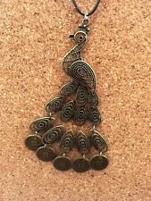Funky Bronze Detailed Large Gypsy Peacock Bird Pendant Choker Chocker Necklace