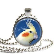 COCKATIEL LUTINO PARROT EXOTIC BIRD Glass Altered Art Pendant Necklace