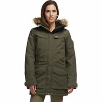FJALLRAVEN Nuuk insulated faux fur hood women's parka -Laurel Green -MEDIUM