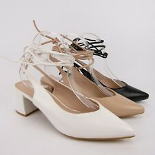 Tacchi decolte sandali donna schiava donna romana lacci caviglia ecopelle beige