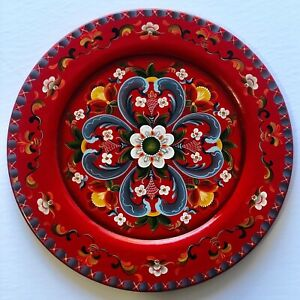 "14""Hand painted wooden plate ,  Rogaland Norwegian  Rosemaling"