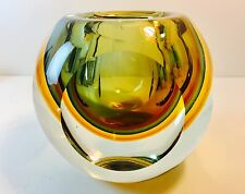 Amazing Vintage MCM Murano Art Glass Thick & Heavy Vase ~Window View Design