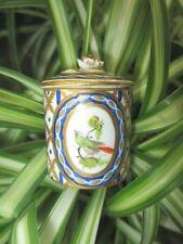 SEVRES LIMOGES HP TOY MINIATURE TEA BISCUIT JAR CAMEO BIRDS COBALT & GOLD PANELS