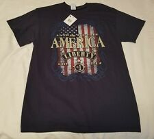 "NEW WITH TAGS, GILDEN HEAVY COTTON NAVY BLUE ""AMERICA LIBERTY"" TEE"