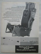 9/1975 PUB MCDONNELL DOUGLAS ACES II EJECTION SEAT SIEGE EJECTABLE ORIGINAL AD