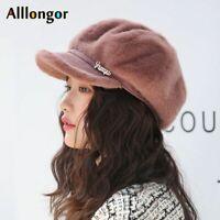 Autumn Winter Women Newsboy Cap Casquette Gavroche Femme Faux Rabbit Fur