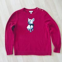 Macys Charter Club French Bulldog Crewneck Sweater Size LP