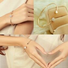 #3023 Trendy Simple Gold Plated Wire Bangle With Double Crystal Hearts Bracelets