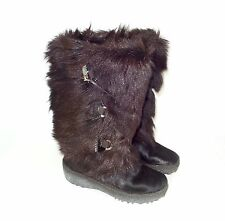 Pajar ' Davos ' Brown Goat Fur Mid Calf Slip On Warm Winter Boots Sz 5 M - Italy