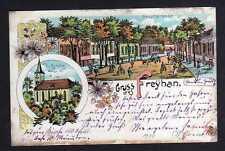 108550 AK Freyhan 1904 Litho Ev. Kirche Hauptstrasse Bahnpost Oels - Gnesen Zug