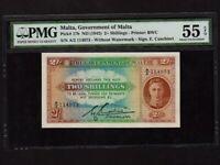 Malta:P-17b,2 Shillings,1942 * King George VI * PMG AU 55 EPQ *