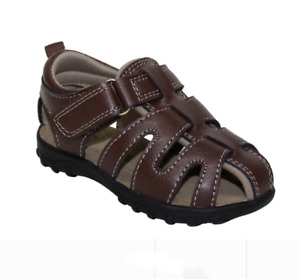 Infant Boys Brown Faux Leather Comfortable Fisherman Sandals