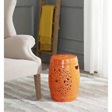 Safavieh Decorative Garden Stool Seat Table Accent Indoor Outdoor Orange Ceramic