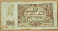 1940 POLAND WW2 ERA ORIGINAL BANKNOTE 10 ZLOTYCH SER.J. COND. VF  WATERMARKS