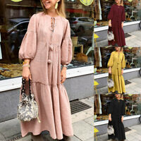 Women V Neck Lantern Sleeve Casual Oversize Shirt Dress Long Midi Dress Plus