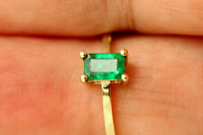 Colombian 100% NATURAL Emerald Gemstone, 0.47 cttw Solid Yellow Gold Ring #E69