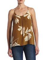 Lucky Brand - Women's XL - NWT$99 - Mustard Brown Floral Vines Silk Tank Blouse
