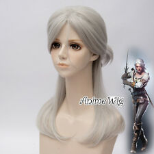 The Witcher 3 Wild Hunt Cirilla Gray Long 50CM Anime Cosplay Wig + Free Cap