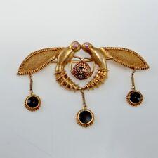 Bees of Malia 18K Gold Brooch Minoan Artisan Pink Sapphire Enamel Ancient Bee