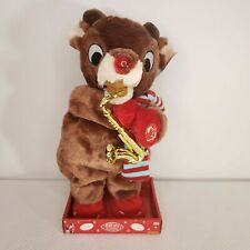 New Animated Rudolph Reindeer Christmas Plush Saxophone Playing Song Light Nose