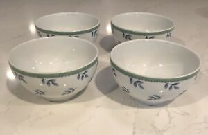 (4) Villeroy & Boch Switch Rice/Cereal Bowls White Green & Blue