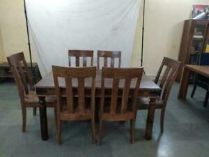 Large Solid Wood Mahogany Wooden Dining Table & Chairs Indian Sheesham Hardwood