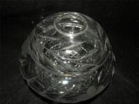 ANTIQUE AMERICAN BRILLIANT CUT GLASS HAIR RECEIVER FLORAL PATTERN
