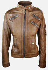 Ladies Womens Real Genuine Leather Tan Zip Biker Slim Fit Jacket