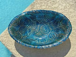 """Turquoise Blue Gold & Silver Decorative Glass Bowl 10""""_Swirl Pattern"""
