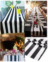 """7 Black and white Table Runner 108"""" 3D Black White Striped satin table runners"""