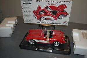 1958 RED CHEVY CORVETTE 1:12 SCALE, BY GEARBOX COLLECTIBLE! DIE-CAST CAR #17953