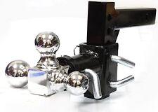 3-BALL Tri Swivel Adjustable Drop Raise Turn Trailer Tow Hitch Mount 7500lbs