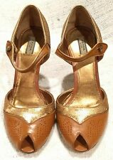 Prada Gold Sequin Brown Leather Peep Toe ankle Strappy Heels Italy Shoes US 7M