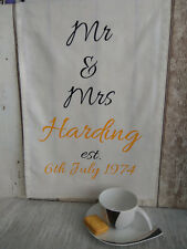 personalised tea towel with any your text anniversary new home birthday gift