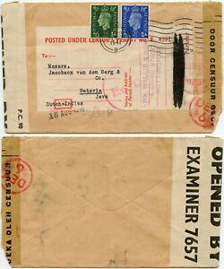 GB to JAVA NEI WW2 UNDER CENSORS PERMIT LABEL + Ec + DEV 6  CENSUR..AUG 1941