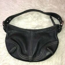 COACH Black Leather Hobo Shoulder Bag Purse Silvertone Hardware D3S - 9541