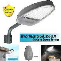 Outdoor LED Street Light 2500LM Dusk to Dawn Sensor Waterproof Security Lighting