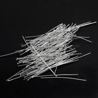 100pcs 0.8*50mm Silver Tone Flat Headpin Needles Jewelry Finding Making Supplies