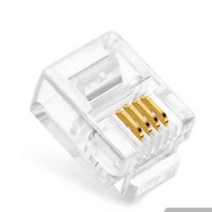 50 Pcs RJ11 Telephone Cable Crimp End Plugs 6P4C Lan Network Connectors